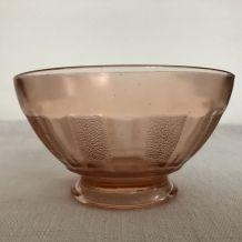 3 anciens bols verre rose, vaisselle d'autrefois