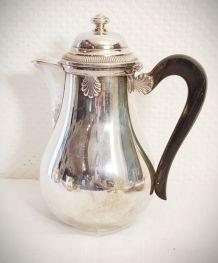 Service à café ancien en métal argenté motif coquille