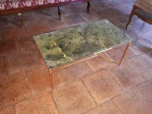 Table basse années 60 marbre et laiton
