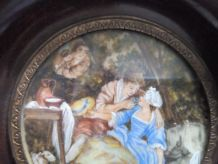 """Peinture miniature """" Scène galante """" signée BAUDOIN"""