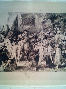 """Grande Eau Forte """"L'Entrée de Charles V à Anvers"""""""
