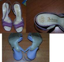 Vintage années 60 sandales violettes marque Jehanne