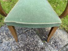 Fauteuil bridge velours vert vintage 1950