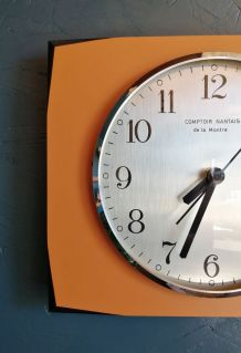"""Horloge formica vintage pendule murale """"Comptoir Nantais"""""""