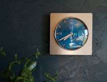 """Horloge formica vintage pendule murale carrée """"Quartz Paris"""""""