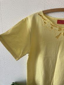 Tee-shirt coupe droite broderies ajourées