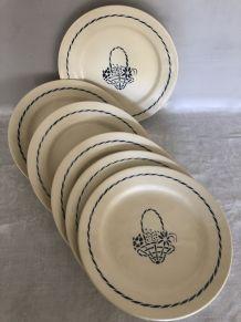 """6 assiettes plates Creil Montereau """"HBCM - Paradis"""""""