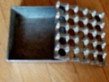 Cendrier carré design vintage en aluminium