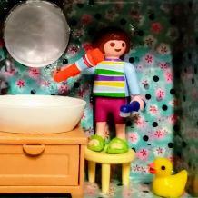 Cadre Playmobil salle de bain, plaque de porte