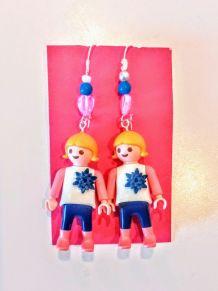 Boucles d'oreilles Playmobil/argenté/blanc/rose/bleu