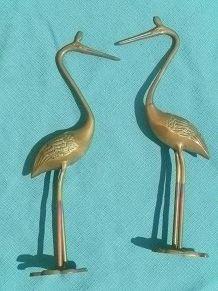 herons en laiton (paire) vintage