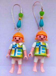 Boucles d'oreilles Playmobil/argenté/blanc/jaune/bleu/vert