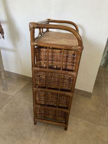 Meuble 4 tiroirs en rotin & bambou vintage