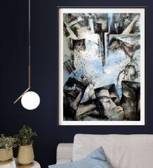 Acrylique peinture abstrait noir et blanc nuage
