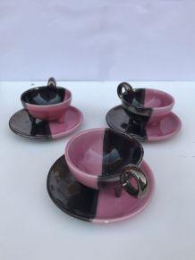 service à café/thé signé luc de Vallauris années 50  rose