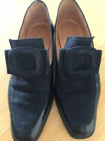 Chaussures vintage, mocassins vintage véritable, bleu marine