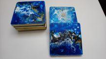 Dessous de verre décoration de mariage bleu marin