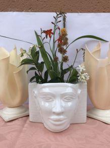 Cache pot original  toutenkhamon égyptien en céramique