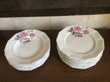 Service floral 12 couverts en porcelaine