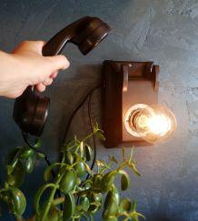 """Applique murale lampe vintage téléphone """"Black Phone"""""""