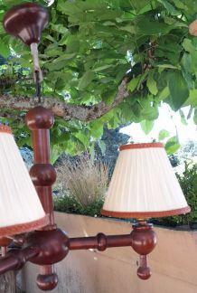 Lustre en bois 3 branches & abats jours  rustique ch