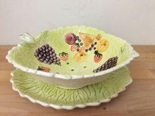 Corbeille à Fruit Vintage en Céramique et Son Dessous de Pla