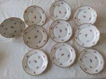 10 assiettes à dessert Porcelaine Emaux de LIMOGES