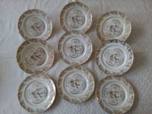 9 assiettes à dessert Porcelaine de LIMOGES