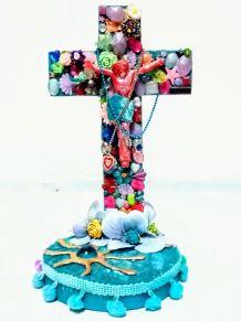 Croix de Jésus en bois à poser, bohème, kitsch