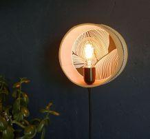 """Applique vintage lampe murale ronde tamis bois """"Végétal"""""""