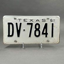 Plaque d'immatriculation Américaine  Texas1961