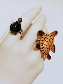 Bague réglable petite tortue d'eau, pour tous