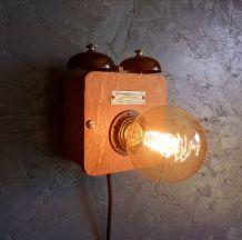 """Applique murale bois lampe vintage sonnerie métal """"On sonne"""