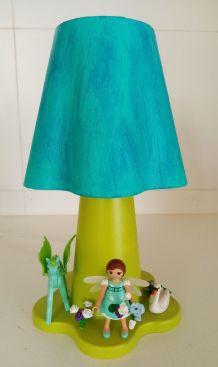 Lampe Playmobil de chevet, fleur féerique en bleu