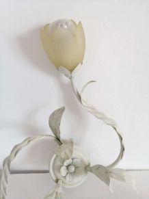 Plafonnier tulipe style Florentin lustre métal pâte de verre