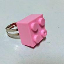 Bague Lego rose, réglable argentée, pour tous