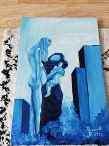 Tableau signé toile Art huile sur toile