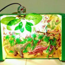 Lampe de chevet dinosaure, paysage jurassique