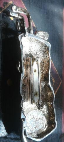 """Broche métal argenté """"sac de golf"""" pièce unique"""