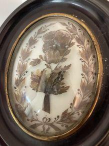 Reliquaire de deuil XIXème travail de cheveux