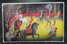Ancienne affiche scolaire: Le cirque, la chambre d'enfant