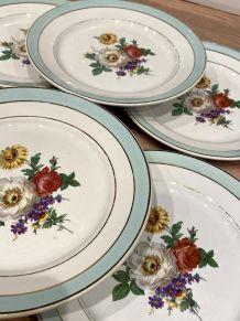 6 assiettes plates en demi-porcelaine Badonviller