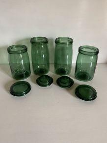 4 bocaux vintages en verre