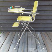 Chaise haute bébé formica jaune vintage amovible pliable