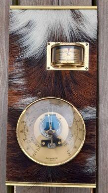 Baromètre/thermometre vintage,decor peau de bête