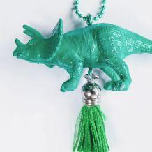 Collier dinosaure vert, Anchiceratops, fille, garçon