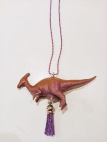 Collier dinosaure violet, Parasaurolophus, fille, garçon