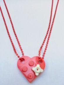 Collier Lego cœur rouge, fleur, se partage en 2