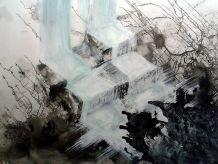 Tableau peinture acrylique papier abstrait