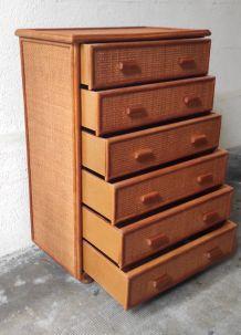 Commode 6 tiroirs bois et cannage – années 80